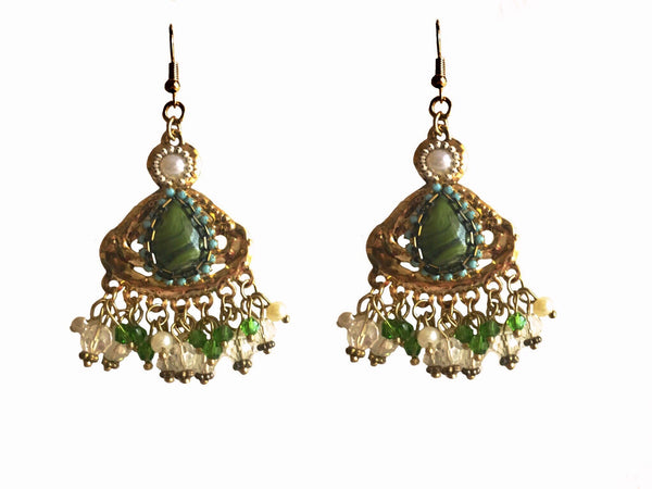 Mystique Green & Matte Gold Dangler Earrings