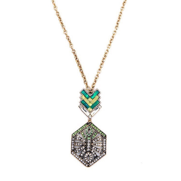 Deco Crystal & Stones Pendant Necklace