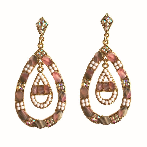 Natural Pink Stone & Pearl Resin Dangler Earrings
