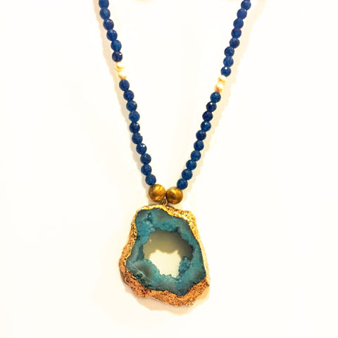 Natural Stone Metallic Necklace - Blue
