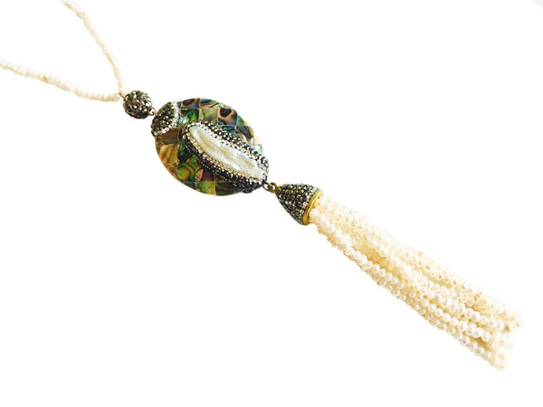 NATURAL STONE & MOTHER OF PEARL PAVED TASSEL NECKLACE