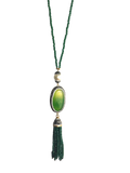 NATURAL STONE OVAL PAVED TASSEL NECKLACE - GREEN
