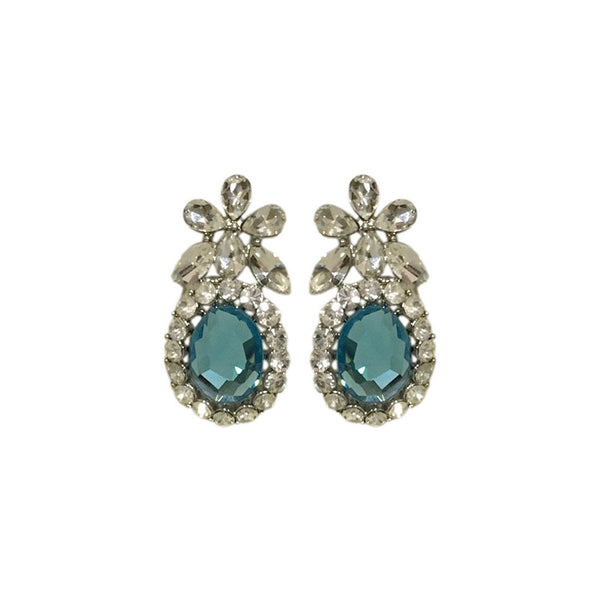 Nature Crystal Top Earrings - Blue