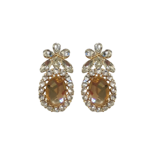 Nature Crystal Top Earrings -Peach