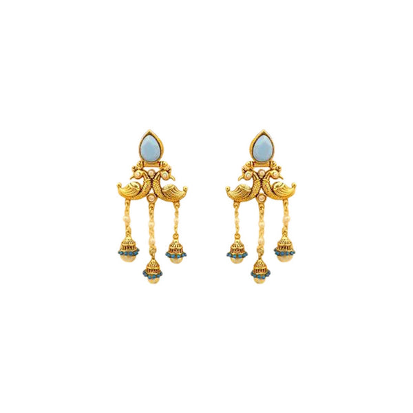 Niyat Blue And Gold Dangler Earrings