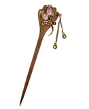 NORAH WOOD DANGLER HAIR BUN STICK PURPLE