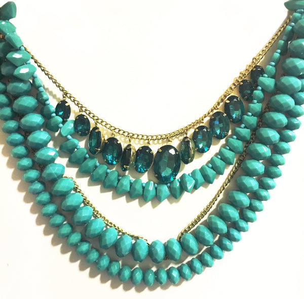 Ocean Beaded Stone Multilayer Necklace