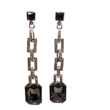 ORNATE CHAIN CRYSTAL AND STONE EARRINGS
