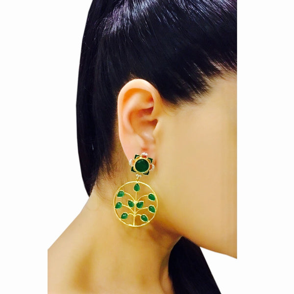 Ornate Fence Earrings Green