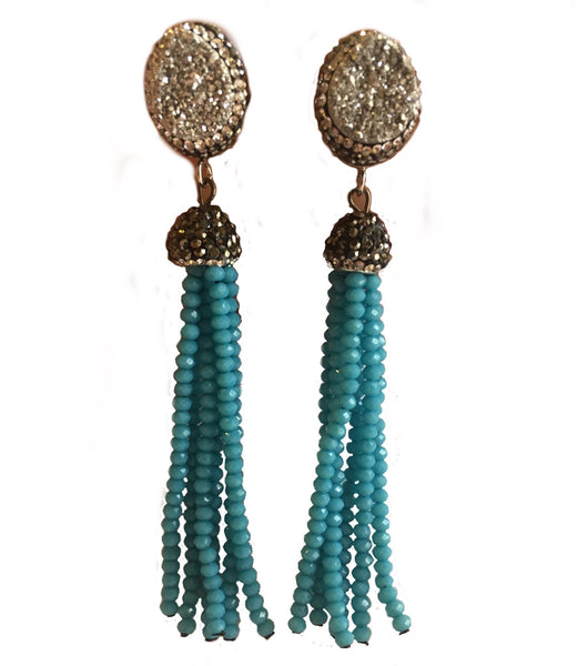PAVED DRUZY BEADED TASSEL EARRINGS BLUE