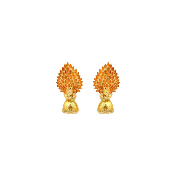 Peacock Stone Jhumki Orange