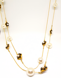PEARL AND BLACK ENAMEL FLOWER LONG CHAIN NECKLACE
