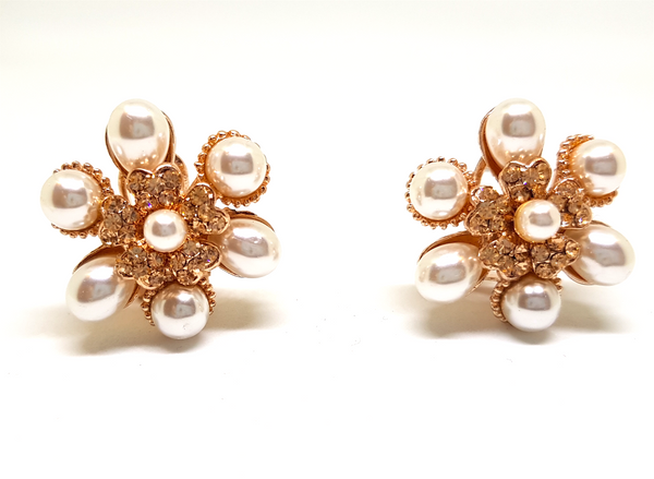 PEARL AND CRYSTAL ROSE GOLD STUD CLIP ON EARRINGS
