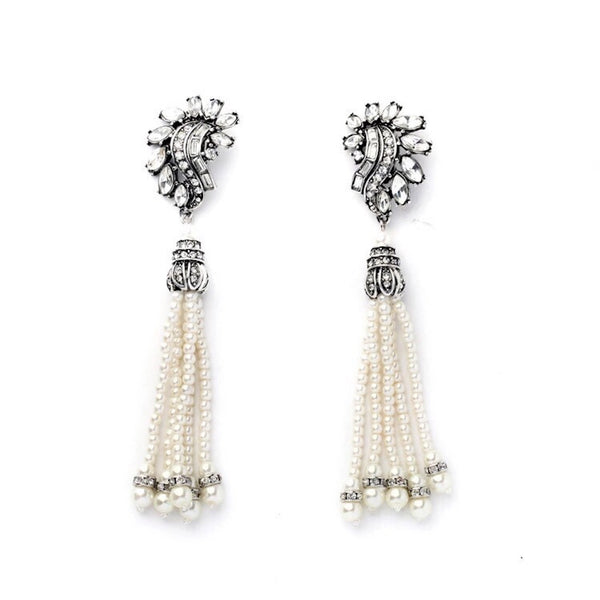 Pearl Bunched Tassels Clip On Earrings