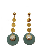 PEARL GOLD AND TEAL DANGLER DISC EARRINGS