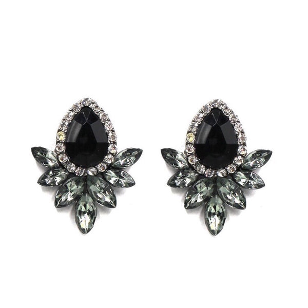 PETALS STONE AND CRYSTAL STUD EARRINGS  BLACK