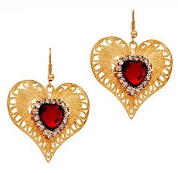 Queen Of Hearts Filigree Earrings - Red