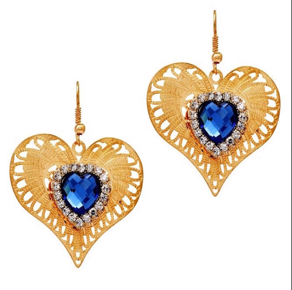 Queen Of Hearts Filigree Earrings - Blue