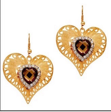 Queen Of Hearts Filigree Earrings - Brown