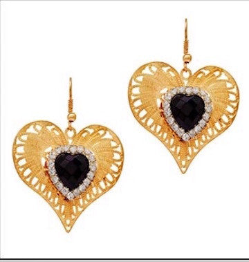 Queen Of Hearts Filigree Earrings - Black