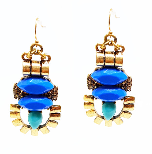 QUIRK BLUE AND STONE HOOK DANGLER EARRINGS