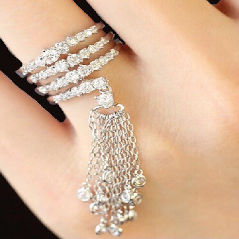 Raindrops Crystal Tassel Ring