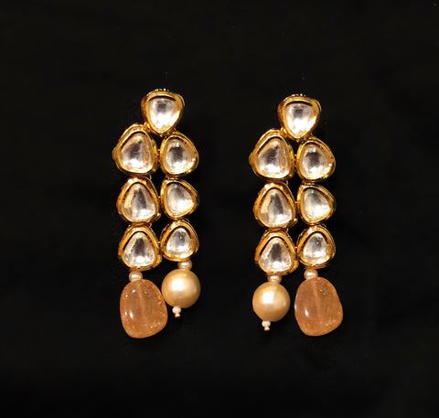 Rani Kundan Pearl And Stone Drop Earring