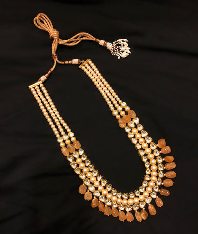 Rani Kundan Pearl And Stone Drop Necklace