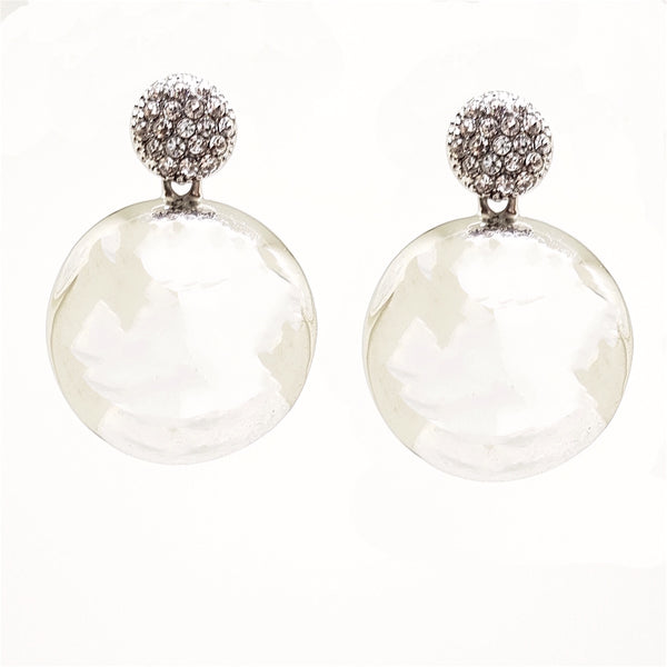 REFLECT CRYSTAL AND GLOSS METAL EARRINGS