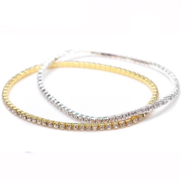 RHINESTONE STRETCH ANKLET GOLD/SILVER