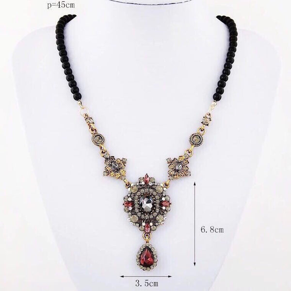 Richiosa Beaded Crystal Pendant Necklace