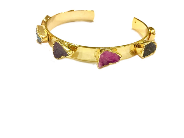 ROUGH DRUZY GOLD PLATED MULTI COLOURED CUFF