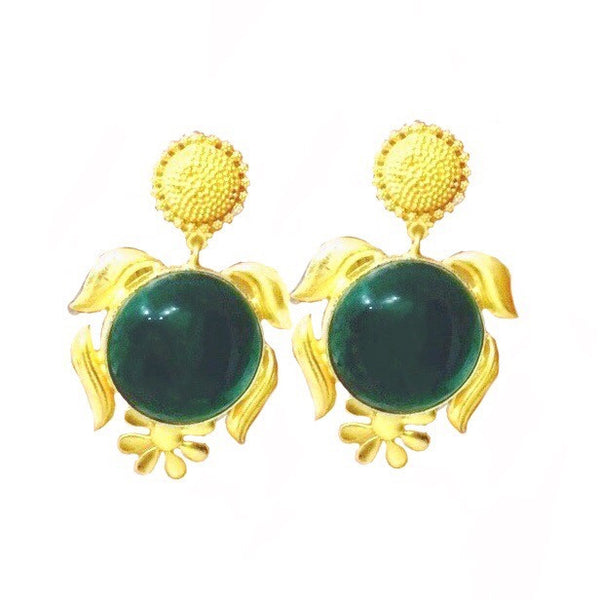 Serena Green Stone Tribal Earrings