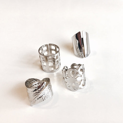 Silver Sand Set Of 4 Rings White