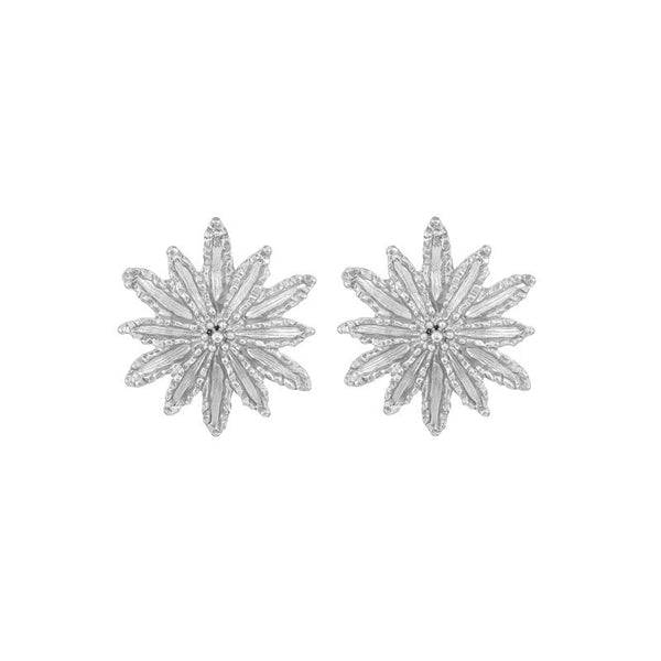 SILVER SUN STUD EARRINGS