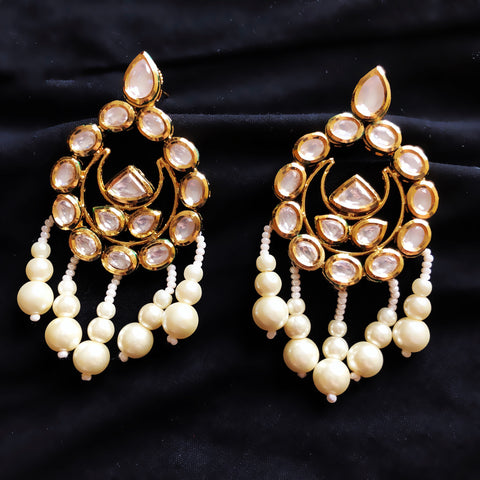 Sitara Kundan And Pearl Dangler Chaandbali Earrings