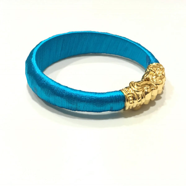 Sky Blue Silk Thread Kadda Bangle Single