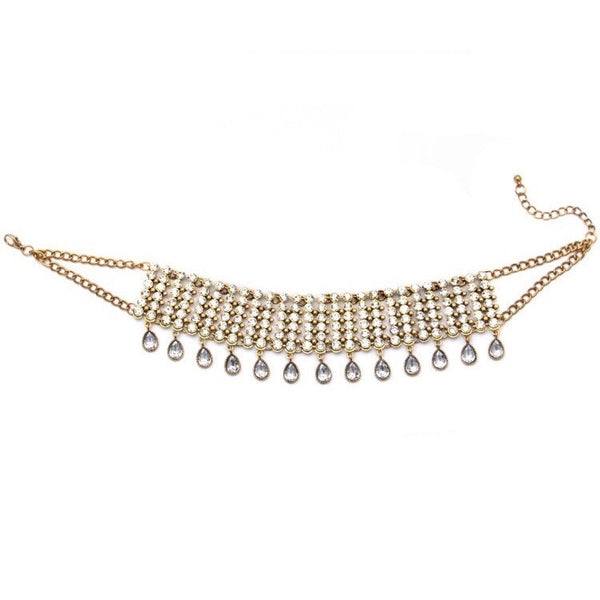 SOIRE SHIMMER STONE CRYSTAL CHOKER SILVER