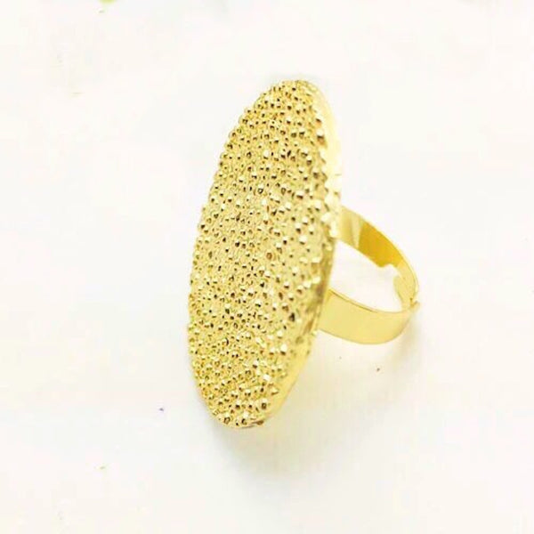 Stamped Gold Finger Ring