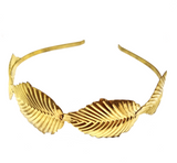 STAMPED LARGE TEXTURED LEAF GOLD METAL HAIRBAND