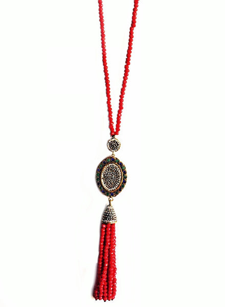 STONES OVAL PAVED TASSEL NECKLACE - RED