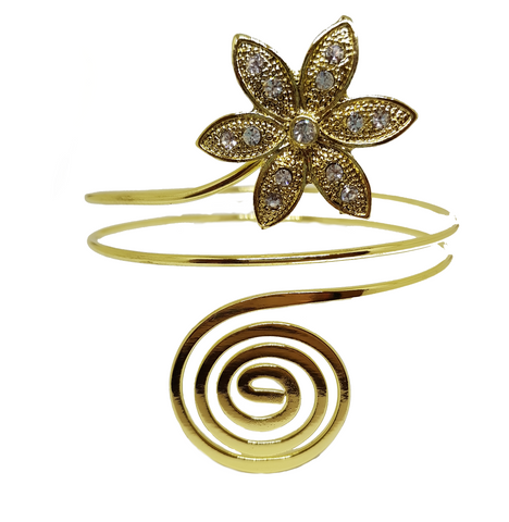 SUNFLOWER ACCENTED METAL ARMLET ARMBAND GOLD
