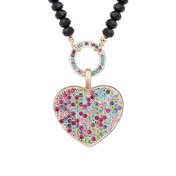 SWAROVSKI HEART PENDANT NECKLACE MULTI COLOURED
