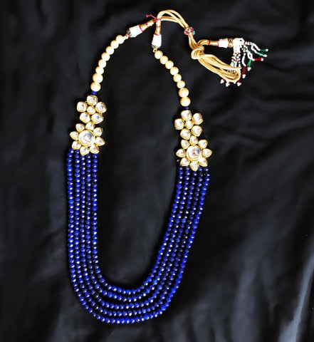 Tara Kundan And Beaded Necklace Blue