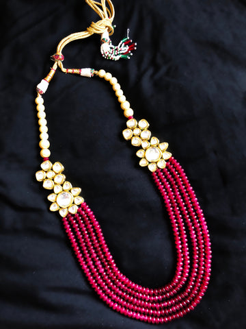Tara Kundan And Beaded Necklace Red