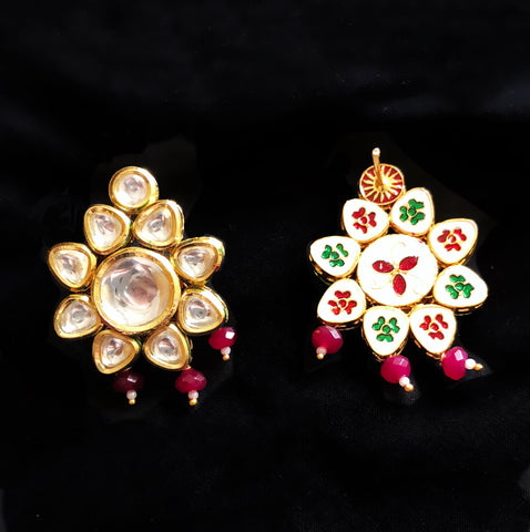 Tara Kundan And Drop Earrings Red