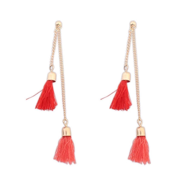 TASSEL ME ON SHADED TASSEL EARRINGS RED/PEACH