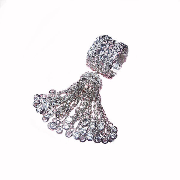 Temptress Crystal Tassel Ring