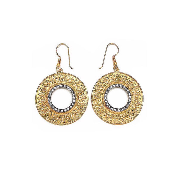 Textured Hollow Hoop Dangler Earrings