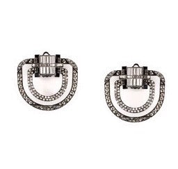 THE CLUTCH CRYSTAL ONYX BIG STUD EARRINGS